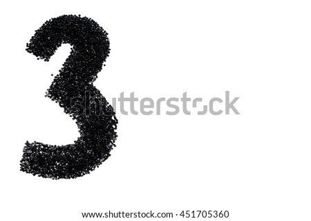 The black number 3 Isolated on white background - stock photo