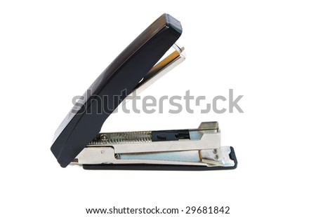 the black office stapler isolated on white background - stock photo