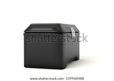 The black, plastic tool box. On white background. 3d Image