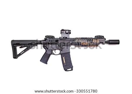 "The Black Rifle: custom build 9"" AR-15 SBR isolated on a white background, studio shot - stock photo"
