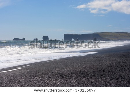 The black sand beach on the southern coast of Iceland.