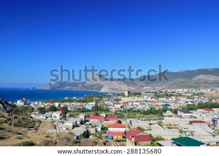 The Black Sea coast. Sudak city. Crimea. Ukraine. - stock photo