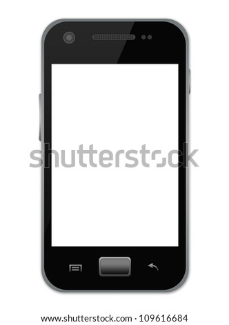 The Black Smart Mobile Phone With Blank White Screen Isolate on White Background