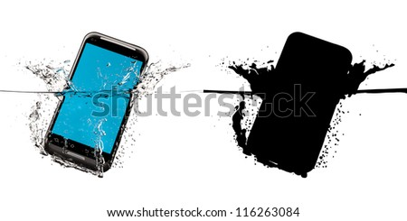 The black smartphone fallen in water. 3D-model. Black mask. - stock photo