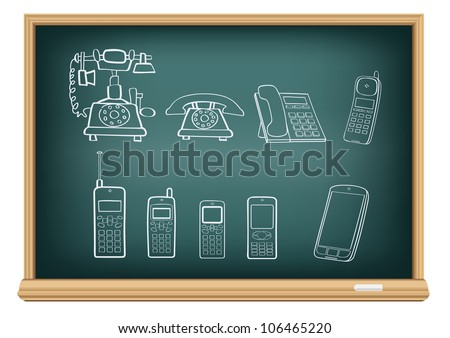 The blackboard with the drawn evolution of phones isolated on a white background - stock photo
