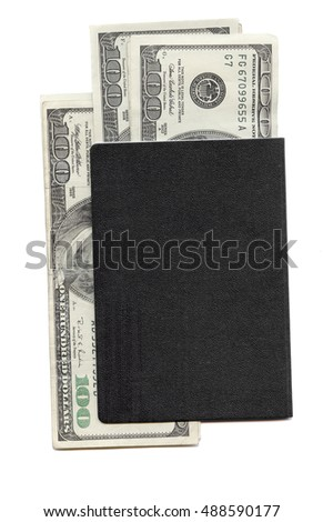 The blank back side of a passport that contains U.S. currency in hundred dollar bills on a white background. This is a high resolution scan.