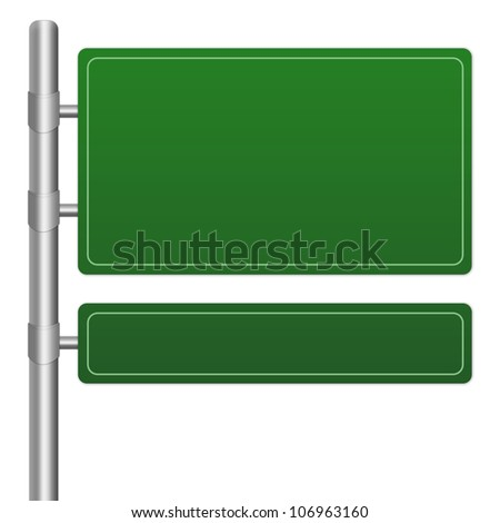 The Blank Green Highway Road Sign Isolated on White Background