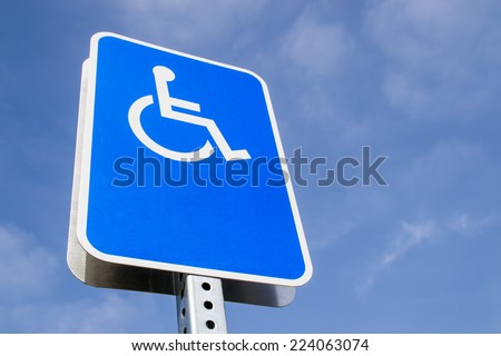 The blank handicap parking street sign. - stock photo