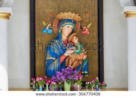The Blessed Virgin Mary   & angle - stock photo