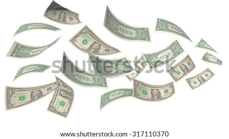 the blowing money , dollar flying on the air isolated - stock photo