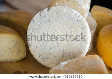 The blue and yellow cheese for sale