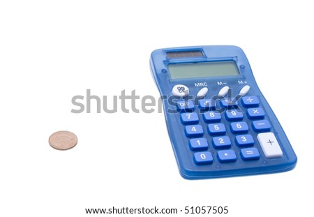 The blue calculator and cent on a white background
