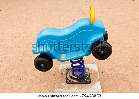 The blue car is a car dock and play - stock photo
