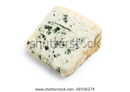 the blue cheese on white background - stock photo