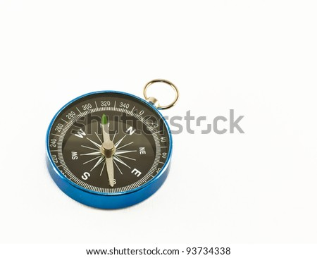 The blue compass isolated on white background - stock photo