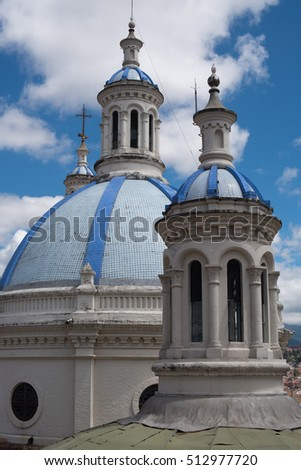 The blue cupolas of the New Cathedral of the Immaculate Conception in Cuenca, Ecuador