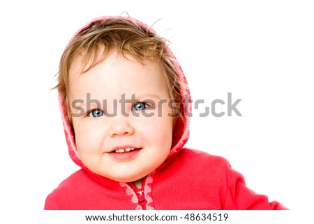 The blue-eyed kid on a white background