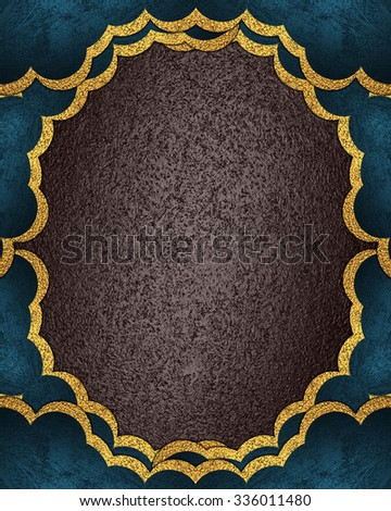 The blue frame with brown texture. Element for design. Template for design. copy space for ad brochure or announcement invitation, abstract background