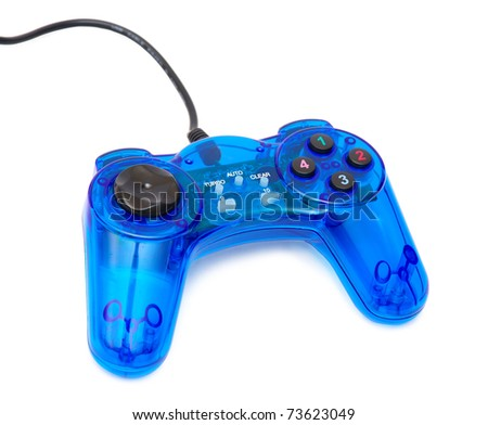 The blue glass game controler on a white background - stock photo
