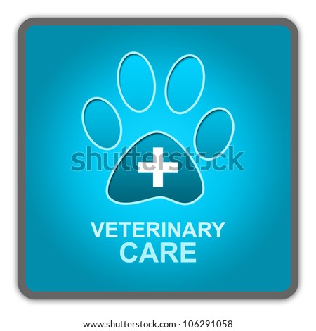 The Blue Glossy Style Pet Veterinary Care Sign Isolated on White Background - stock photo