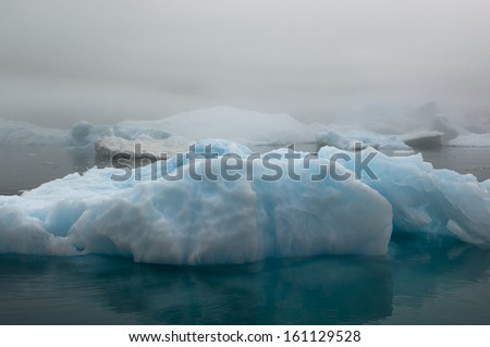 The Blue Ice Bergs in Narsarsuaq Greenland - stock photo