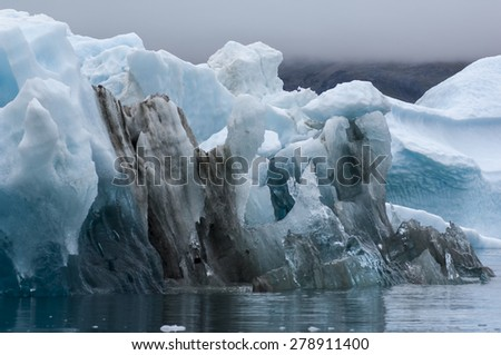 The blue icebergs of Narsusuaq Fjord in Greenland