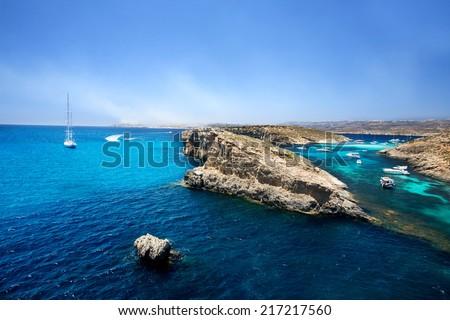 The  Blue Lagoon in Comino, Malta - stock photo