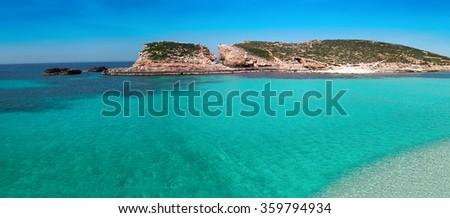The Blue Lagoon on Comino Island, Malta Gozo. - stock photo