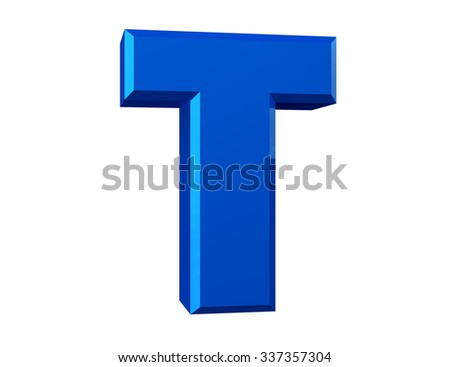 the blue letter T on white background 3d rendering