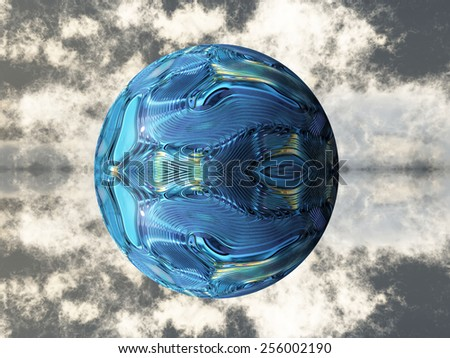 the blue metal ball - stock photo