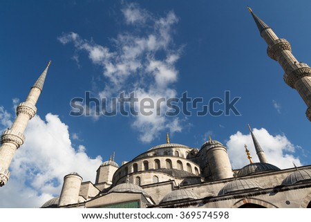 The Blue Mosque and open sky, (Sultanahmet Camii), Istanbul, Turkey. - stock photo