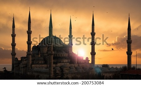 The Blue Mosque during sunset - stock photo