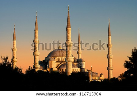 The Blue Mosque in sunset view, Istanbul, Turkey - stock photo