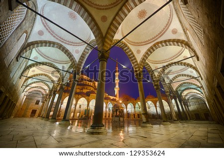 the blue mosque's inner yard - stock photo