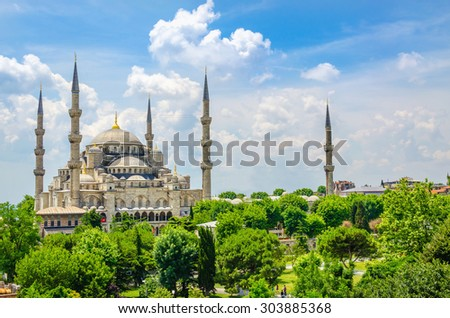 The Blue Mosque (Sultanahmet Camii) historical mosque in Istanbul against blue sky, Turkey - stock photo