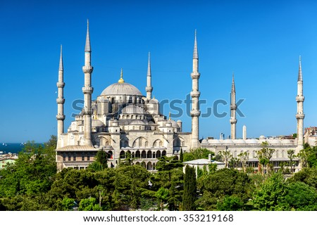 The Blue Mosque (Sultanahmet Camii) in Istanbul, Turkey - stock photo