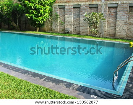 The blue of a swimming pool