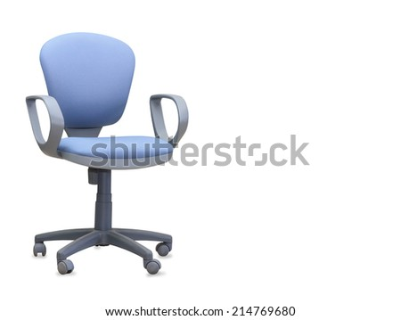 The blue office chair. Isolated
