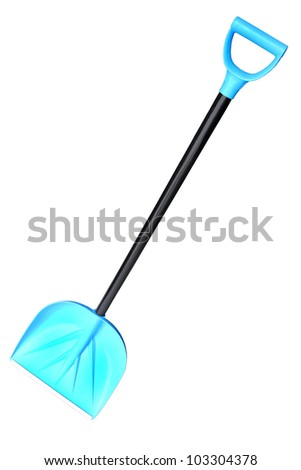 The blue plastic snow shovel with a black wooden handle isolated on a white background.