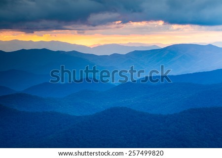 The Blue Ridge Mountains are noted for their bluish color due to the Isoprene released into the atmosphere contributing to the characteristic haze and distinctive color. - stock photo