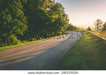 The Blue Ridge Parkway at sunrise, in North Carolina. - stock photo