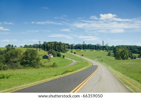 The Blue Ridge Parkway on a Summer Day - stock photo