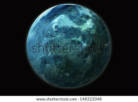 the blue rock planet isolated on black - stock photo