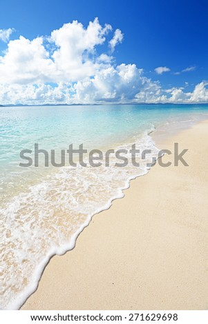 The blue sea and sky in Okinawa - stock photo