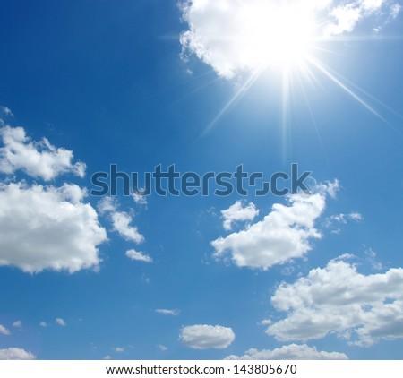 the blue sky and sun - stock photo