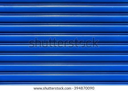 The Blue steel Rolling Door - stock photo
