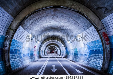 The blue tube/ Photo of a tunnel for bicycles in T�¼bingen, Germany