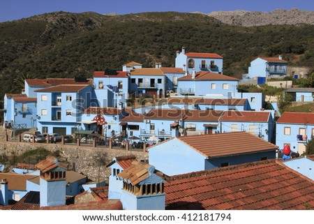 the blue village of Juzcar in Malaga (Spain)