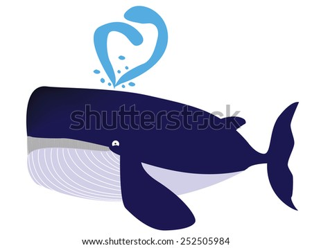 The blue whale is spit water out at the pore - stock photo