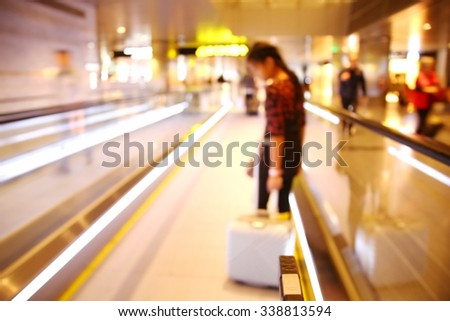 The blurry scene of terminal hall represent the travel industry concept airport atmosphere concept related idea. - stock photo